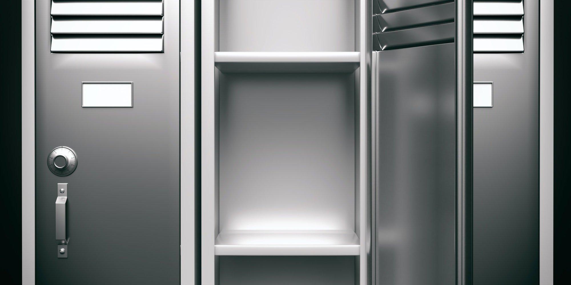 Taquillas de gimnasio, color gris, con puerta de acero inoxidable